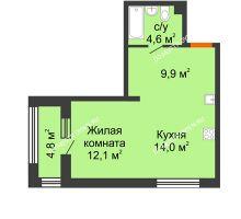 Студия 43 м² в ЖК Цветы 2, дом № 7 - планировка