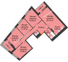 4 комнатная квартира 105,17 м² в ЖК Дом на Набережной, дом № 1 - планировка
