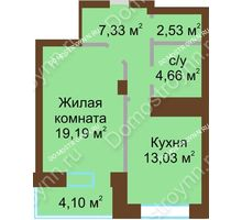 1 комнатная квартира 50,84 м² - ЖК Подкова Приокская