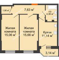 2 комнатная квартира 56,69 м² в ЖК Свобода, дом № 1 - планировка