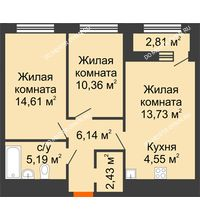2 комнатная квартира 58,42 м² в ЖК Дом на Набережной, дом № 1 - планировка