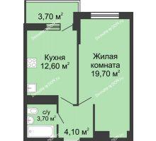 1 комнатная квартира 42,1 м² в ЖК Первый, дом Литер 1 - планировка