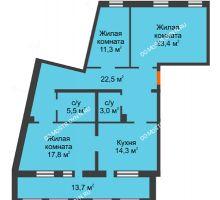 3 комнатная квартира 104,9 м², Жилой дом: ул. Варварская - планировка