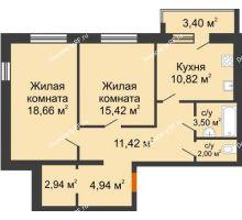 2 комнатная квартира 71,4 м² в ЖК Браер Парк Центр, дом № 5 - планировка
