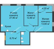 3 комнатная квартира 72,3 м², ЖК Островский - планировка