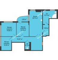 Студия 125,1 м², Жилой дом на ул. Платонова, 9,11 - планировка