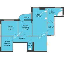 3 комнатная квартира 123,82 м², Жилой дом на ул. Платонова, 9,11 - планировка