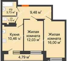 2 комнатная квартира 58,23 м² в ЖК Виктория, дом № 52 - планировка