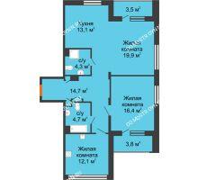 3 комнатная квартира 83 м², ЖК Дом мечты - планировка