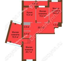 4 комнатная квартира 122,1 м² в ЖК Монолит, дом № 89, корп. 1, 2 - планировка