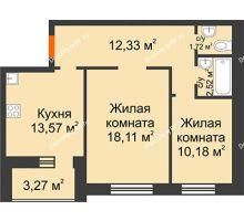 2 комнатная квартира 61,7 м² в ЖК Троицкий, дом Корпус 1 - планировка
