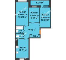 3 комнатная квартира 64,2 м², Жилой дом: г. Дзержинск, ул. Буденного, д.11б - планировка