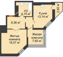 2 комнатная квартира 53,39 м² в ЖК Чернавский, дом 2 этап