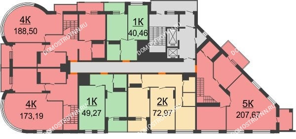 ЖК Командор - планировка 18 этажа