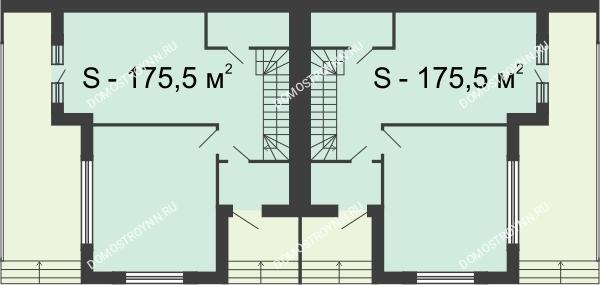 Планировка 1 этажа в доме Типа дуплекс (175,5 м2) в КП DolinaGreen (Долина Грин)