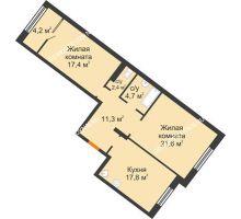 2 комнатная квартира 79,4 м² - ЖК Симфония Нижнего