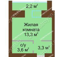 Студия 24,6 м² в ЖК Рубин, дом № 67 - планировка