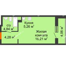 Студия 34,65 м² в ЖК Рассвет, дом №4 - планировка
