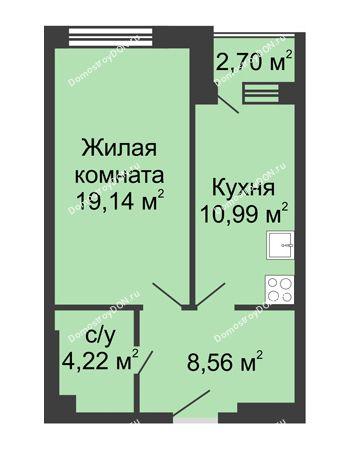 1 комнатная квартира 45,61 м² - ЖК Вдохновение