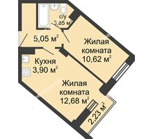 2 комнатная квартира 36,76 м² - ЖК Каскад на Волжской