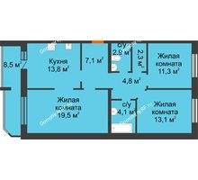 3 комнатная квартира 87,4 м² в ЖК Острова, дом 4 этап (второе пятно застройки) - планировка