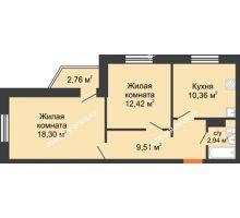 2 комнатная квартира 53,53 м² в ЖК Мончегория, дом № 6 - планировка