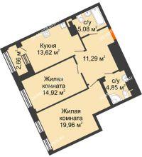 2 комнатная квартира 71,05 м², Дом премиум-класса Коллекция - планировка