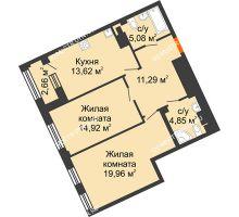 2 комнатная квартира 69,72 м², Дом премиум-класса Коллекция - планировка