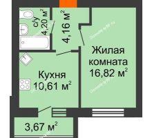 1 комнатная квартира 37,63 м² в ЖК БелПарк, дом 2 очередь - планировка