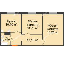 2 комнатная квартира 53,48 м² в ЖК Торпедо, дом № 17 - планировка