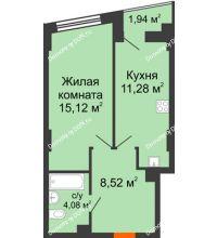 1 комнатная квартира 39,97 м² в ЖК Рубин, дом Литер 2 - планировка