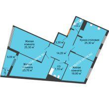 3 комнатная квартира 127,9 м² в ЖК Маршал Град, дом № 3 - планировка