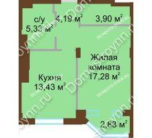1 комнатная квартира 44,13 м² в ЖК Сердце Нижнего, дом № 36 - планировка