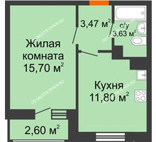 1 комнатная квартира 37,2 м² в ЖК Книги, дом № 1 - планировка