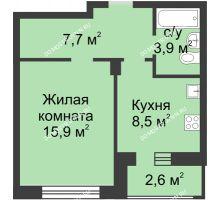 1 комнатная квартира 37,3 м² в ЖК Аквамарин, дом №2