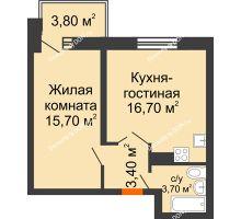 2 комнатная квартира 43,3 м², ЖК Zапад (Запад) - планировка