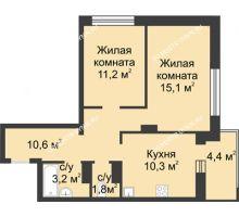 2 комнатная квартира 54,6 м² в ЖК Аквамарин, дом №2 - планировка