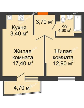 2 комнатная квартира 44,4 м² в ЖК Династия, дом Литер 2