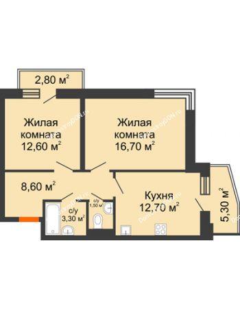 2 комнатная квартира 58,9 м² в ЖК Династия, дом Литер 2