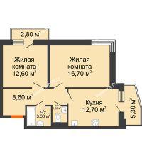 2 комнатная квартира 58,9 м² в ЖК Династия, дом Литер 2 - планировка