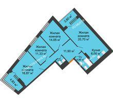 3 комнатная квартира 91,54 м² в ЖК Дом на Набережной, дом № 1 - планировка