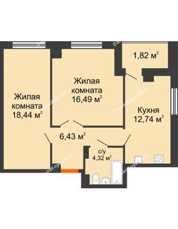 2 комнатная квартира 62,2 м² в ЖК Университетский 137, дом Секция С1
