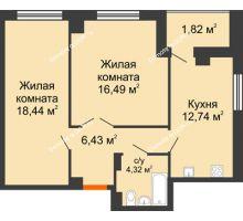 2 комнатная квартира 60,38 м² в ЖК Университетский 137, дом Секция С1 - планировка