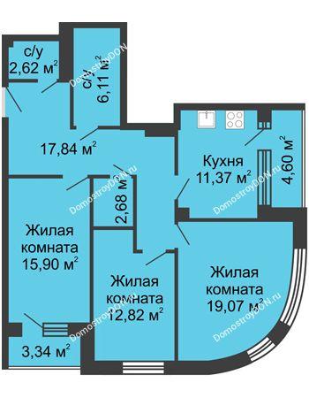 3 комнатная квартира 96,35 м² - ЖК Вдохновение