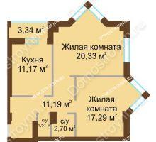 2 комнатная квартира 65,9 м² - ЖК Грани