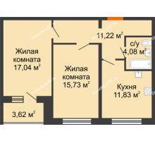 2 комнатная квартира 61,71 м², ЖК Вавиловский Дворик - планировка