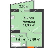 1 комнатная квартира 20,9 м² в ЖК Волна, дом 2 очередь (секция 4) - планировка