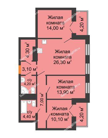 4 комнатная квартира 91,5 м² - ЖК Дом на 18-й Линии, 3