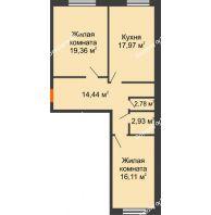 2 комнатная квартира 73,59 м², ЖК Две реки - планировка