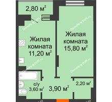 1 комнатная квартира 38,1 м² в Микрорайон Прибрежный, дом № 7 - планировка
